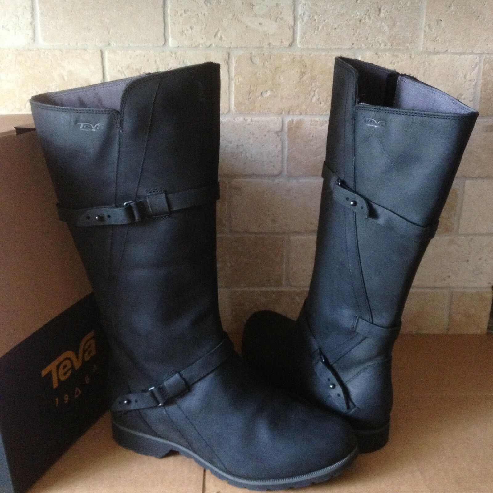 TEVA DE LA VINA BLACK WATERPROOF US LEATHER TALL Stiefel SIZE US WATERPROOF 5.5 Damenschuhe 43d928
