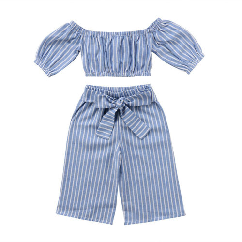 Toddler Kid Baby Girl Off-shoulder Tops Long Pants 2PCS Outfit Clothes Summer