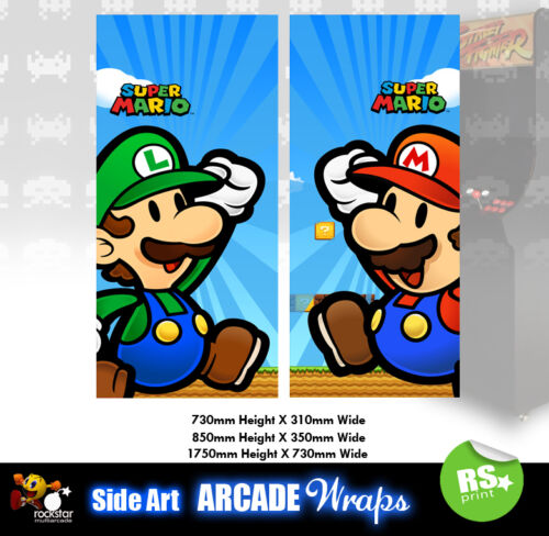 Super Mario v3 Arcade Side Artwork Panel Stickers Graphics / Laminated All Sizes