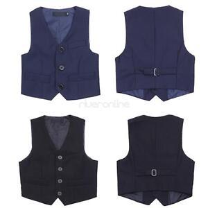 Kids Boy Gentleman Formal Birthday Wedding Suit Vest Waistcoat Party SZ 3-12 New