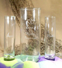 Wedding Unity Sand Ceremony Set Personalized Cylinder Vase, Heart art work
