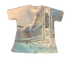 BLUE-84-HAWAIIAN-COTTON-BLEND-TEE-T-SHIRT-Sz-L-BLUE-ALOHA-SURF-BOARD-WAVES