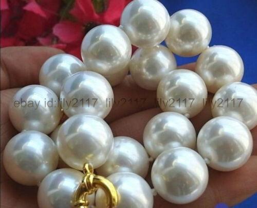 énorme blanc 16 mm South Sea Shell collier de perles 18 in AAA environ 45.72 cm