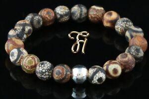 Tibet-Achat-925er-sterling-Silber-Armband-Bracelet-Perlenarmband-braun-8mm