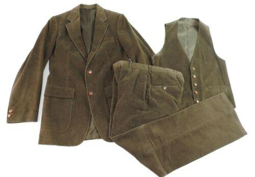 Vintage Gant Mens Brown Corduroy Suit Vest Pants J
