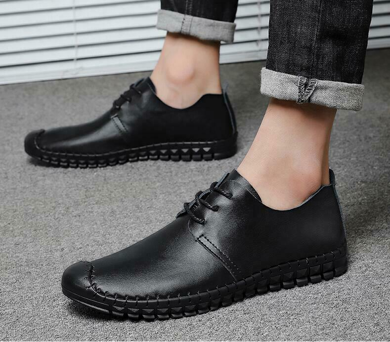Mens Dress shoes Loafers British Style Flats Faux Leather Lace up British Style