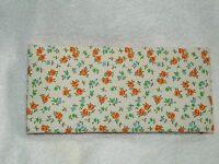 Flowered Fabric Checkbook Cover Yellow Orange Green Handmade In Usa
