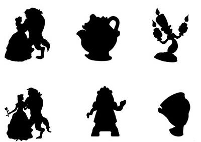 Beauty and the Beast Silhouettes Comestible A4 givrage Feuille cake topper