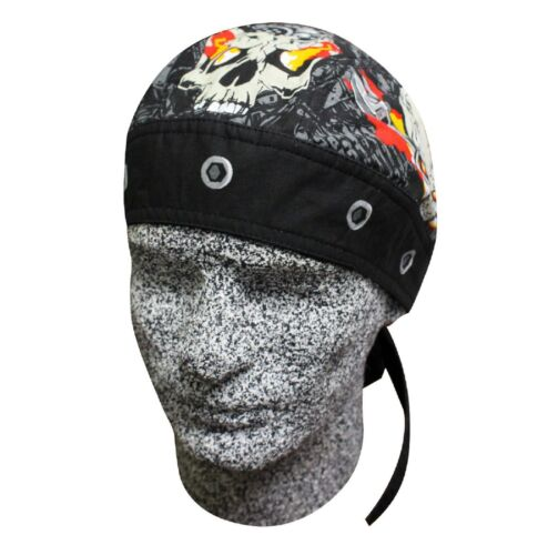 Flames and Bolts Bandanna Du Rag Biker Skull Cap Do Doo Head Wear Capsmith Hat