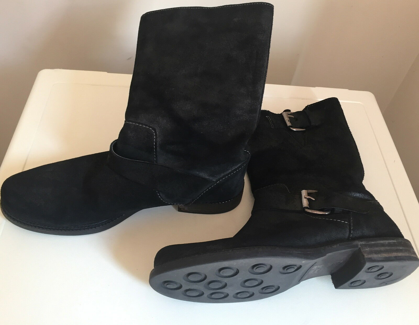 Real Leather mid calf Boots Size UK 6