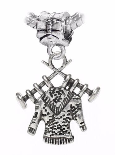 Knitting Needle Sweater Shirt Clothes Dangle Charm fits European Bead Bracelets