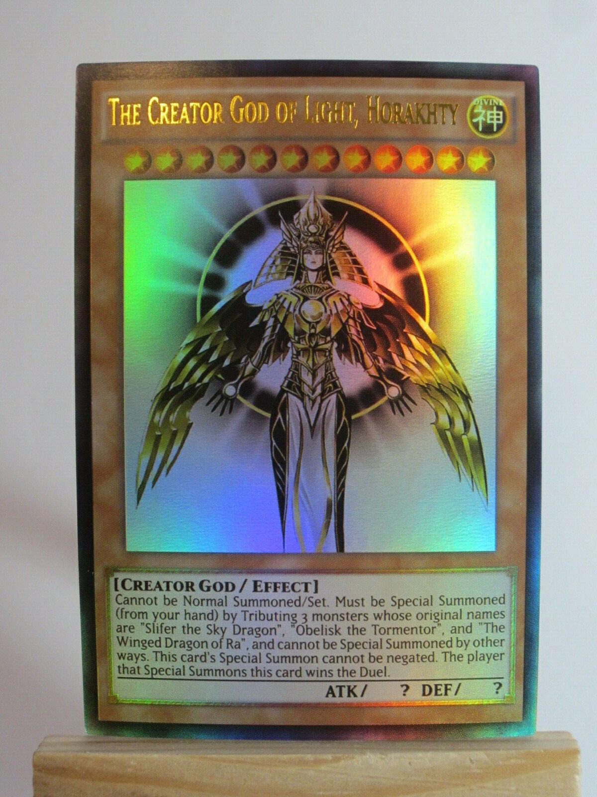 SECRET RARE YUGIOH Horakhty ORICA ART proxy The Creator God of Light