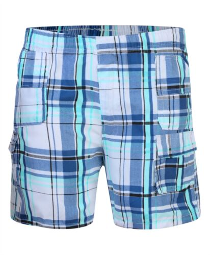 Kids Short Lightweight Multipocket Shorts Kids Checked Cargo Bottoms 3-14 Years