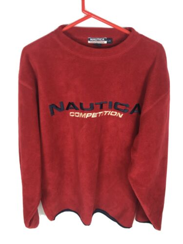 VINTAGE NAUTICA COMPETITION Fleece Sweater Large l pullover crewneck sweatshirt vtg 90s 1990s beige tan yacht club spell out big logo