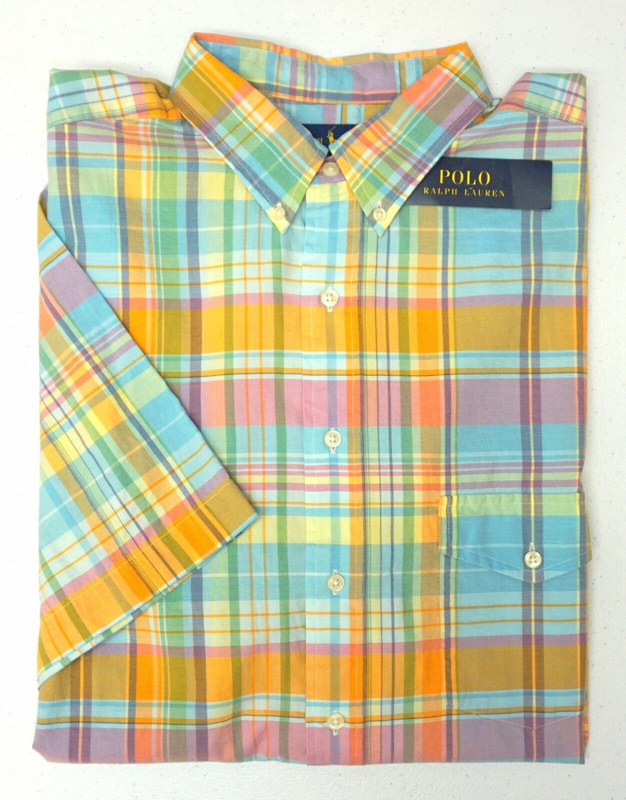 NWT  Polo Ralph Lauren Short Sleeve Shirt Mens orange bluee Pink Plaid NEW