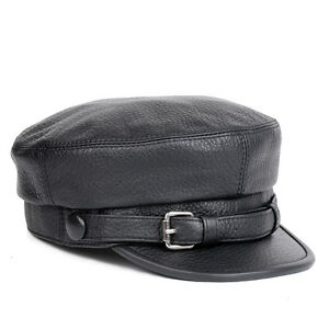 Details about Fashion Men s Women s Genuine Leather Newsboy Military Cap  Motorcycle Beret Hat 19a601ba591