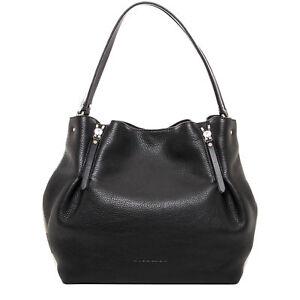 Burberry Women s Medium Maidstone Leather   Canvas Handbag Black ... da25f577898d4