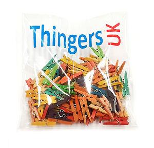 Piccola-Mini-esegue-il-pegging-in-legno-2-5cm-colore-misto-scegli-confezione-UK-FORNITORE
