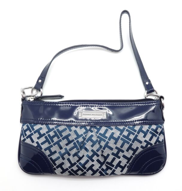 Tommy Hilfiger Small Navy White Fabric With Vinyl Shoulder Bag Handbag Purse