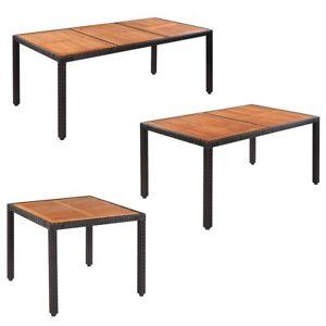 Akazienholz Tischplatte Poly Rattan Gartentisch Garten Esstisch