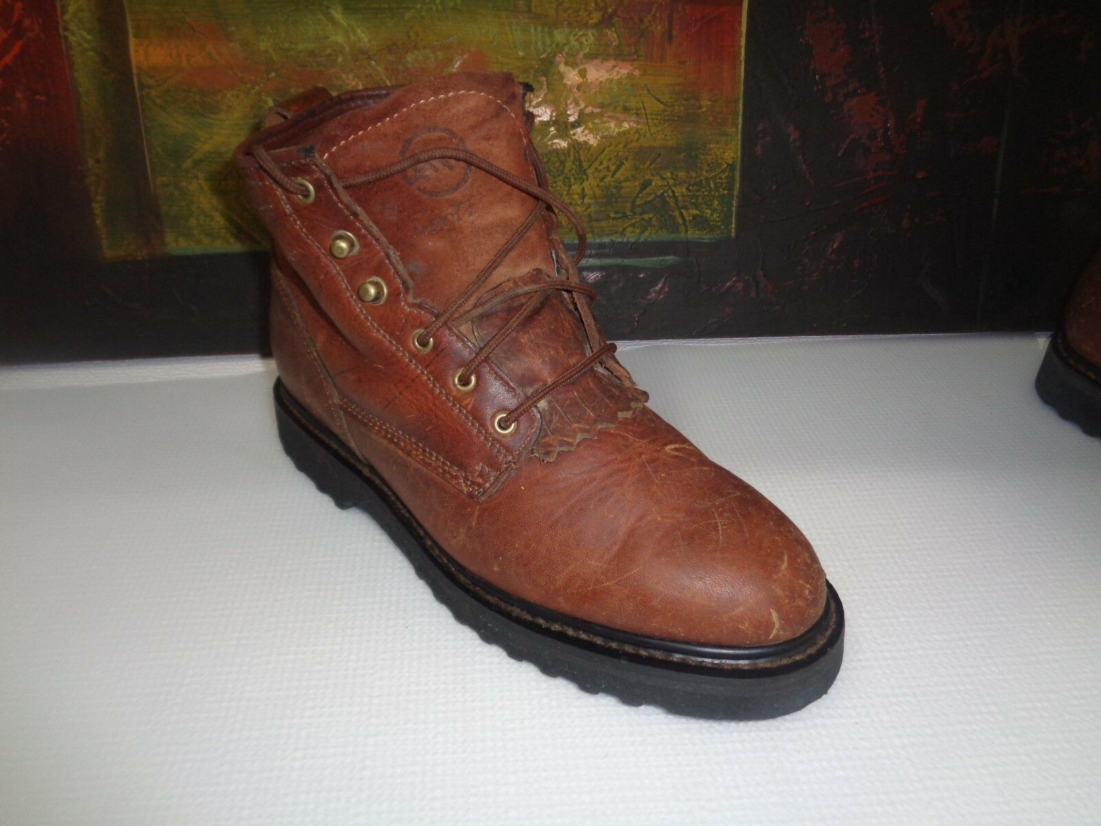 DOUBLE HH Lace Up Brown Women BOOTS, 8M