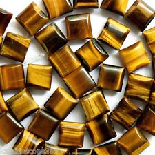 TIGER EYE GEMSTONE BEADS 2 HOLE SQUARE 10MM TIGEREYE