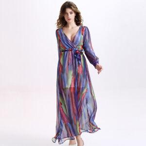 Vestiti Colorati Eleganti.Elegante Raffinato Abito Vestito Colorato Manica Lungo Leggero