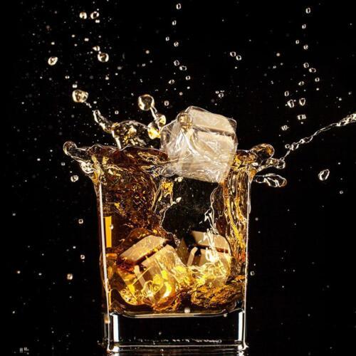 1//2//4Stk Edelstahl Eiswürfel Whiskey Schnaps Steine Getränk Kühler-Cube