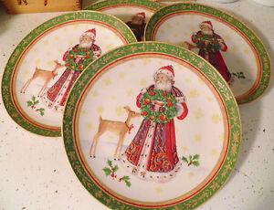 Set-of-4-Pamela-Gladding-Santa-w-Reindeer-Deer-Christmas-Lunch-Dessert-Plates