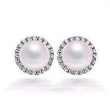 10mm Cubic Zirconia 6mm Freshwater Pearl Sterling Silver Halo Earrings Gift PE1