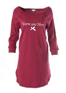 """LOUIS & LOUISA  """" Warm ums Herz """"  Nachthemd Big Shirt weinrot Gr. XS - M   NEU"""