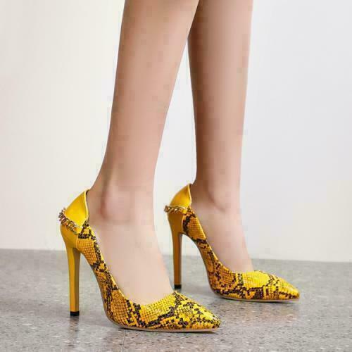Details about  /Sexy Women Pointy Toe Stilettos High Heels Snakeskin Pattern Pumps Chain Ladys H