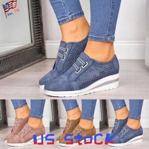 Women-Wedges-Openwork-Casual-Shoes-Girls-Slip-On-Comfy-Loafers-Party-Shopping-US