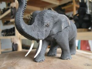 WOODEN-ELEPHANT-Trunk-Up-Step-Right-Wood-Carved-Hand-Wood-Figurine-Statue-Decor