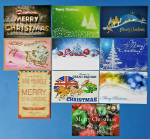 Collection-of-10-New-CHRISTMAS-Postcards-Noel-Greetings-Jesus-Birth-Snow-CH8