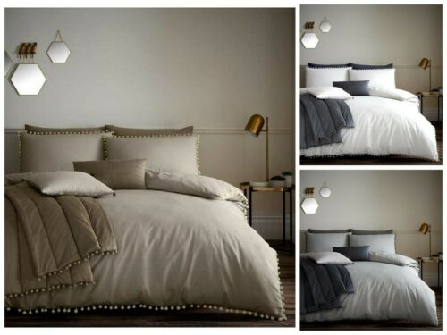 Pom Pom Luxury Modern Duvet Quilt Cover Bedding Set with Pillow Case All Sizes