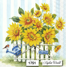(1751) TWO Individual Paper LUNCHEON Decoupage Napkins - SUNFLOWERS FLOWERS