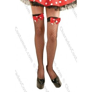 New-Black-Fishnet-Thigh-High-With-Polka-Dot-Bow-By-Charades-90238-Costumania