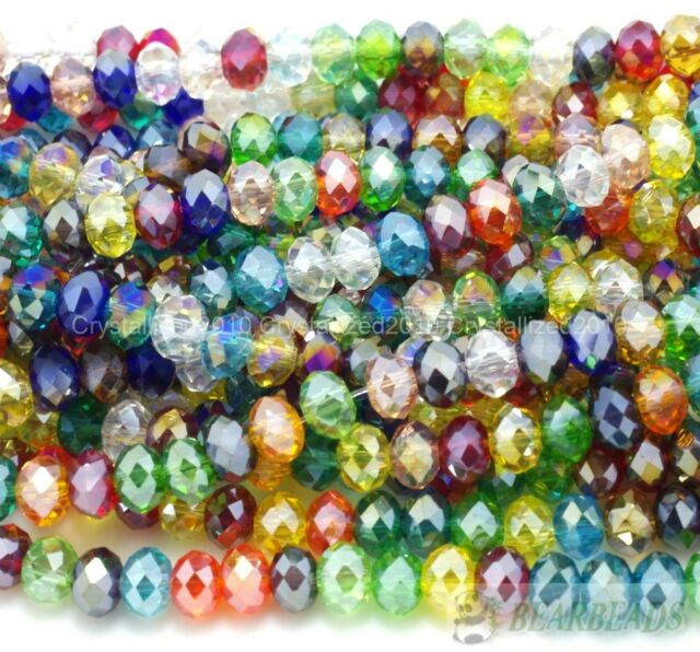 100Pcs Top Quality Czech Crystal Faceted Rondelle Spacer Beads 4mm x 6mm Pick