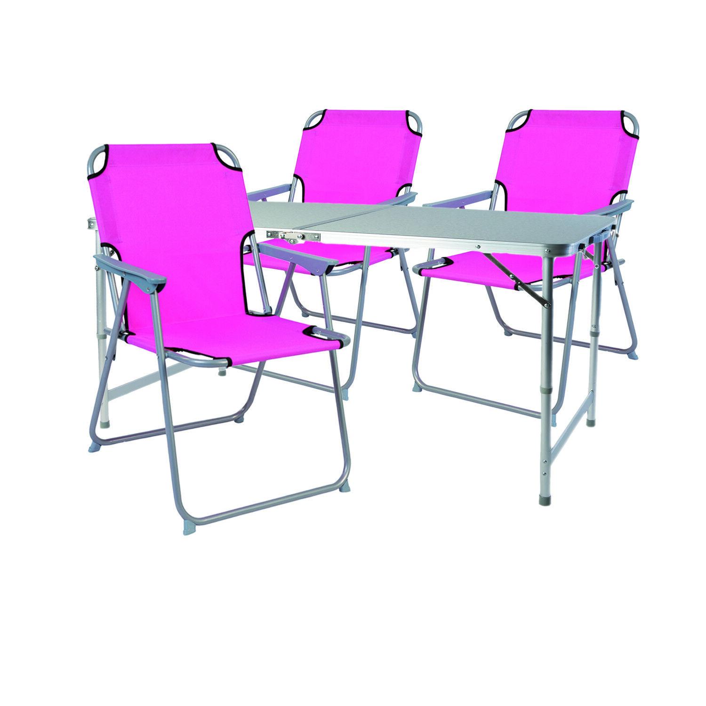 4-teiliges Campingmöbel Set Rosa Alu mit Tragegriff Camping 120x60x58 70cm