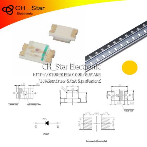 1608 100PCS SMD SMT 0603 LED Orange Amber Light Emitting Diodes Super Bright