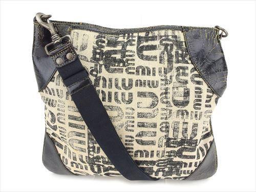 Miu Miu Shoulder bag Logo Black Beige Canvas Leather Woman Authentic Used T8527