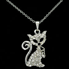 Cat Kitten Kitty Pendants Necklace Charm Rhinestone Clear Costume Jewelry Chain