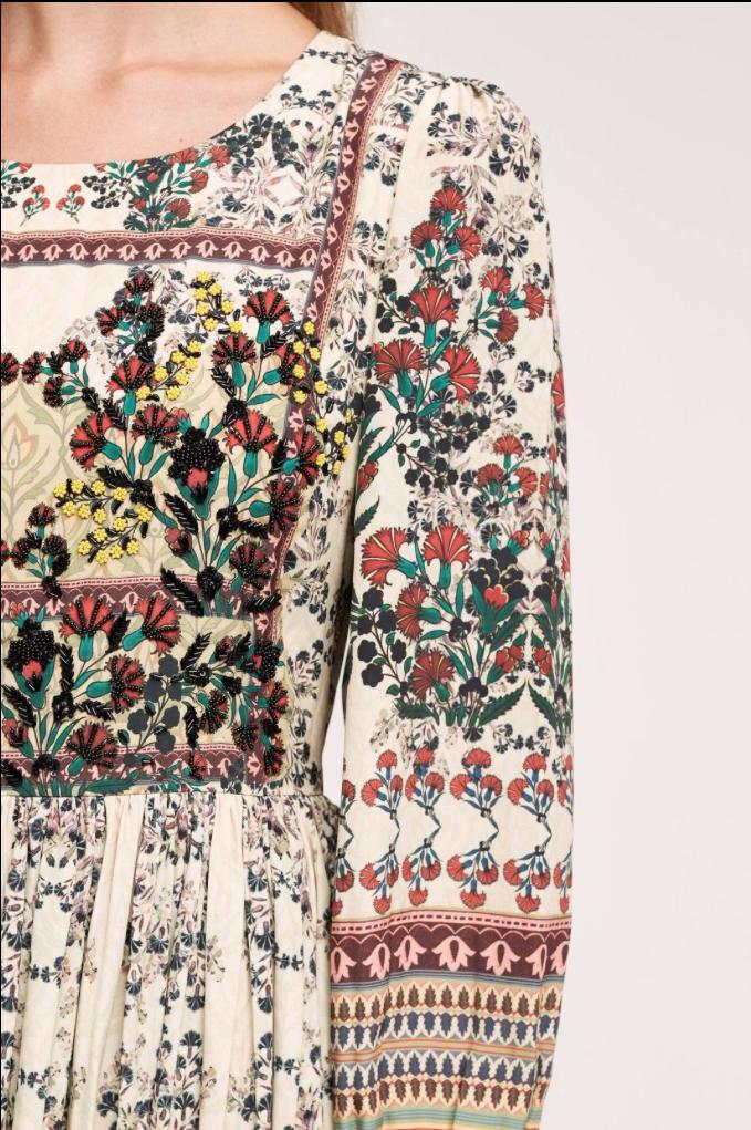 1ed726c0d7421 ... NEW Anthropologie Bhanuni Beaded Far Fields Floral Midi Peasant Dress  Dress Dress 00P 248 3662cb