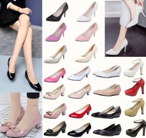 Ladies-Slip-On-Mid-Heel-Pointed-Toe-Court-Work-Office-Womens-Pumps-Loafers-Shoes