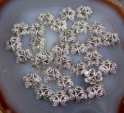 25 Antique Silver Pewter Filigree Bead Caps 12mm