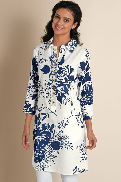 Soft Surroundings - M - Luxurious Weiß Floral  Le Jardin Beaded Tunic NWT