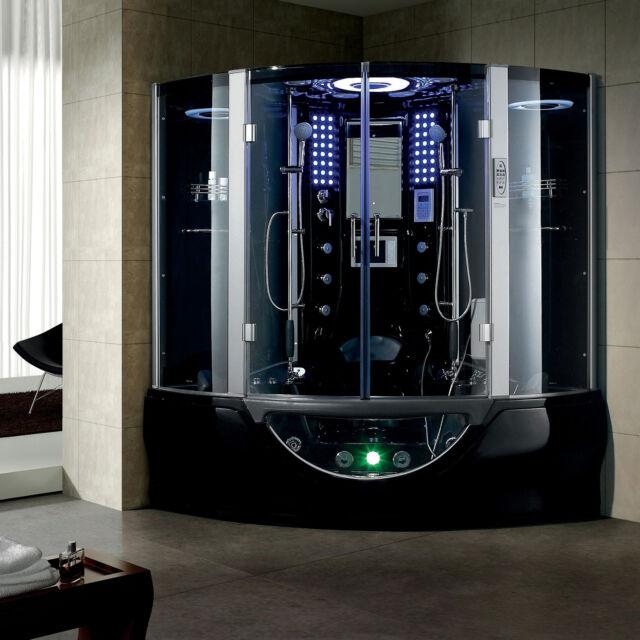 New 2014 Black Steam Shower Computerized Massage Whirlpool Hot Tub Sauna Spa