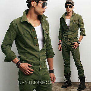 Mens Fashion Military Look Khaki One Piece Jumpsuit Overall Jean