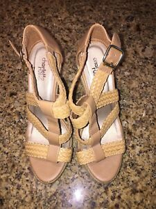 84002fa610c6 Charlotte Russe Tan Natural Woven Rope Wedge Sandals High Heel Shoes ...